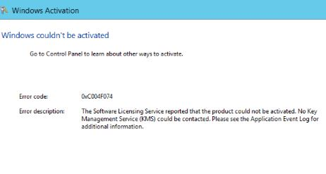 Code 0xc004f074 : MS Office & Windows Activation Error