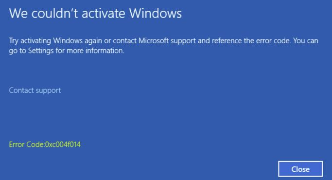 0xc004f014 : Windows Activation Error Code Fixed