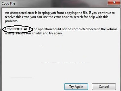 Error 0x80071AC3: Volume is Dirty Issue Solved
