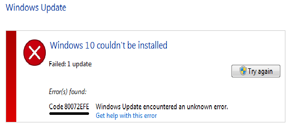 Windows update error code 80072EFE: How to fix Guide
