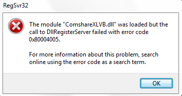 Error Code 0x8002801C – Call to DLLRegisterServer Failed