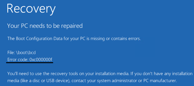 How to fix error code 0xc000000f in windows PC