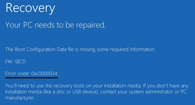 0xc0000034 : Recovery Error Code While Booting Fixed