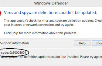 Windows defender error code 0x80004004 Fixed